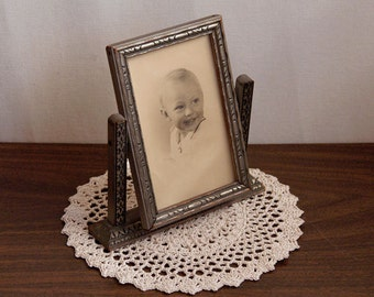 Vintage Art Deco Swing Frame and Old Photograph of Young Boy, 1940s, Wood, Glass, Antique Tilt Picture Frame