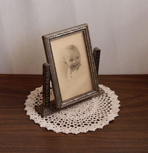 Vintage Art Deco Swing Frame And Old Photograph Of Young Boy