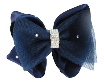 Navy Tulle and Satin Wedding Flower Girl Hair bow with rhinestone jewel bling bow clip/ baby