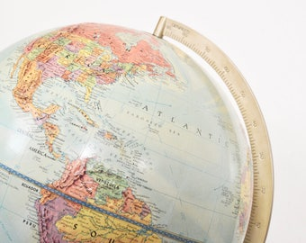 Vintage Replogle 12 Inch Reference World Globe Stereo Relief 1960s Raised Terrain Collectible Globes Home Office Decor