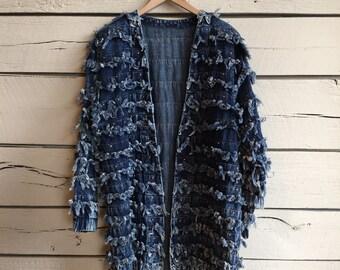 Vintage 1980s ladies frayed denim jacket • 80s denim jacket