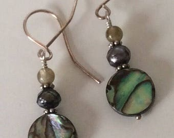 Handmade Drop Earrings Abalone Freshwater Pearl Labradorite Sterling Silver Earrings