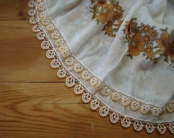 white cotton scarf beaded trim