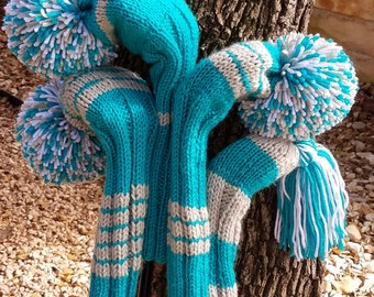 Retro Hand Knit Golf Club Head Covers Set of 4 Turquoise Teal Gray White with Pom Pom
