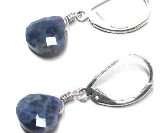 Sodalite briolette lever back earrings gold-filled, sterling silver, oxidized sterling, copper or gunmetal