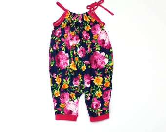 Baby Girl Romper Sunsuit - Baby Girl Clothes - Baby Girl Jumper - Baby Girl Outfit - Bright Floral
