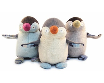 Cate and Levi Handmade Penguin Stuffed Animal (Premium Reclaimed Wool), Colors Will Vary