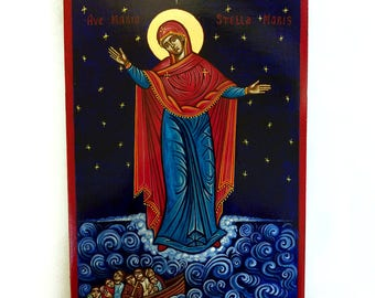 Our Lady Star of the Sea icon, Stella Maris , handpainted original 8x11 inches, MADE to ORDER