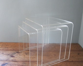Mid Century Lucite Waterfall Nesting Tables