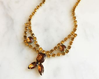 Vintage 50s 60s Amber Rhinestone Choker Necklace Vintage Jewelry