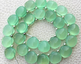5 Matched Pair, PREHNITE GREEN Chalcedony Smooth Heart Shape Briolettes, 10x10mm size.Superb Item at Low Price