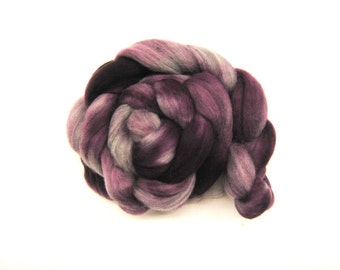 SMITTEN Hand-Dyed Grey Merino Combed Top/Roving-4 ounces