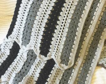 Lovely grey black vintage crochet afghan blanket stripes