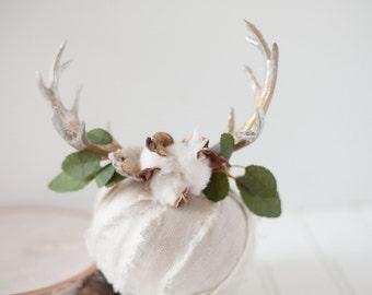 Neutral Ground  newborn fawn deer woodland antler crown halo floral headband prop ready to ship