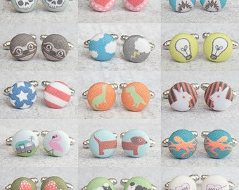 Choose The Design, One Pair of Fabric Button Cufflinks, Designs 1 through 70