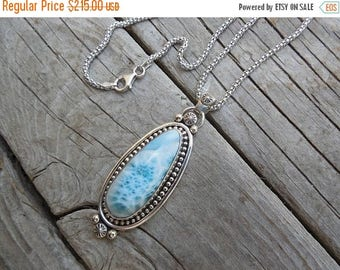 ON SALE Large and beautiful Larimar necklace handmade in sterling silver with a gorgeous stone