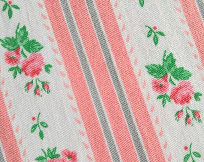 Heavy Pillow Ticking Fabric -  1930s Striped Pink Roses Cotton - NOS