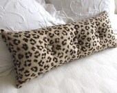 CHEETAH LINEN print 9x25 Bolster/lumbar pillow with buttons tan black