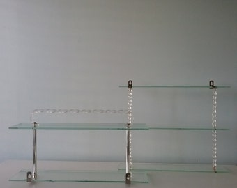 Vintage Glass Wall Shelves, Lucite and Glass, Towel Rack, Hollywood Glam, Regency,