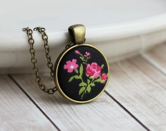 Pink Rose Necklace, Small Floral Fabric Pendant, Black, Boho, Unique Hippie Jewelry