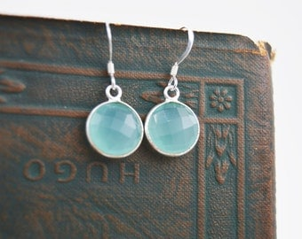 Aqua gemstone Sterling silver earrings, Aqua Chalcedony gem drop earrings