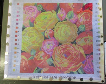 Needlepoint canvas Janlynn peonies in bright colors 14 inches square stretched no yarn included no instruction