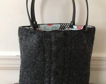 Charcoal Gray Cable Felted Tote Bag
