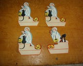Vintage Halloween Decoration Table Decor Old Halloween Place Cards Lot Of 4 Halloween Paper Party Supplies Black Cats Jack O Lanterns Ghosts