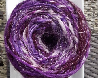 Hand Dyed, Hand Spun, Purple Sparkle, Merino, Bamboo, Firestar and Angelina Art Yarn, 114 yards Bulky yarn