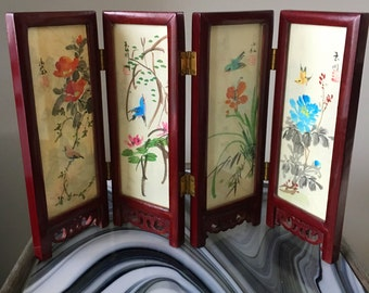 Vintage Double Sided Four Panel Asian Miniature Oriental Screen
