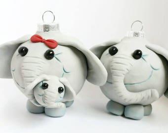 Elephant family Christmas ornaments
