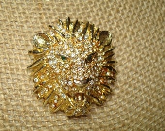 1980s Golden Lion Head with Rhinestones and Green Jeweled Eyes.