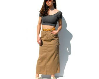 Beige corduroy pencil maxi skirt with cargo pockets 1990s 90s VINTAGE