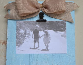 Small Rustic WoodClip Photo Frame, Photo Clip Board, Photo Display Frame, Salvaged Wood Clip Frame, Clip Frame, Wooden Frame, Sea Glass Blue