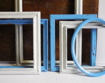 6 Picture Frames White & Blue Shabby French Country distressed  wood frame Oval Wall grouping