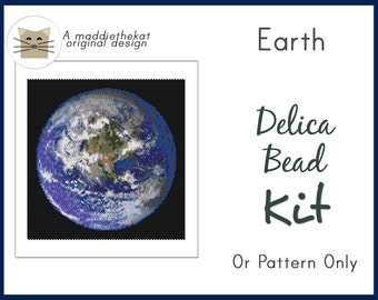 Earth Larger Panel Seed Bead Peyote Pattern PDF or KIT DIY Space Planet