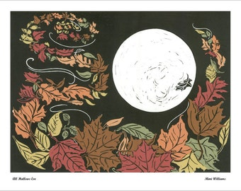 Card or Poster Fall Moon, Harvest Moon, Halloween, All Hallows Eve, Autumn Night, Full Moon and Cool Breezy Night, Autumn Leafs, Fall Colors