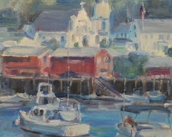 Booth Bay Harbor, Maine, Boats in Harbor, Dock with Boats, New England States, Booth Bay Church, American Flag, Yachts, Sail Boats, Vacation