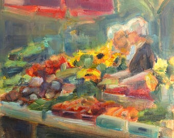 Fruits and Vegetables, Farmers Market, vegetable stand, Ladies at market, Figurative,  Farm to table, kitchen art, Nashville artist, Organic