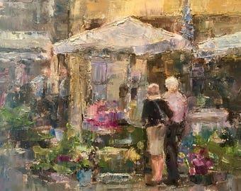 Provence France, Flower Market, European Marketplace, Market in Provence, romantic painting, figurative art, couple shopping, palette knife