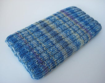 knitted wool iPhone 6 sock cosy - hand knit phone sock - one of a kind mobile phone cosy - pale blue striped smartphone sock - iphone 7