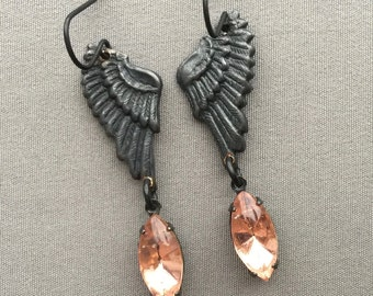 Angel Wing Earrings - Wing Jewelry - Dark Angel Earrings - Angel Wings - Rhinestone Earrings - Romantic Jewelry - Gothic Jewelry - Victorian