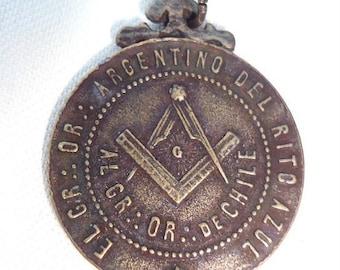 Rare antique Art Nouveau Blue Rite Masonic Medal dated 1903