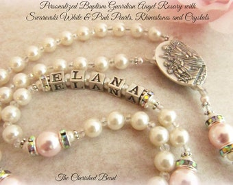 Personalized Baptism Rosary with Swarovski White and Light Pink Pearls, Rhinestones and Crystals - Heirloom Rosary