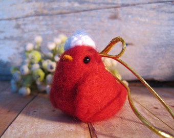 Red bird Christmas ornament, needle felted wool gift for holiday decoration
