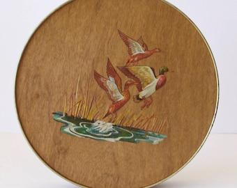 Beautiful Duck Tin with Wood Veneer