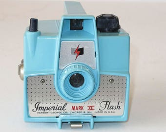 Blue Imperial MarkXII Camera and Flash in Original Box