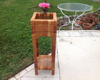 """VINTAGE RATTAN PLANT Stand / Tall Wrapped Rattan Plant Stand / 36 1/2"""" / Woven Rattan Stand / Palm Beach Island Style at Retro Daisy Girl"""
