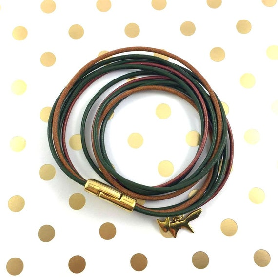 Leather, magnetic, gold magnet, bracelet, brown, green, rust, fox charm, magnet, les perles rares