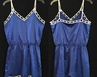 Vintage Blue Satin Romper with White Lace Trim - Large - XL